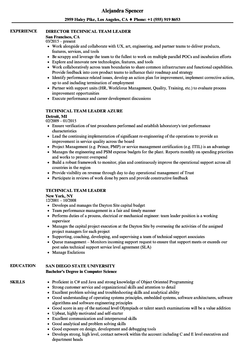 Technical Team Leader Resume Samples   Velvet Jobs