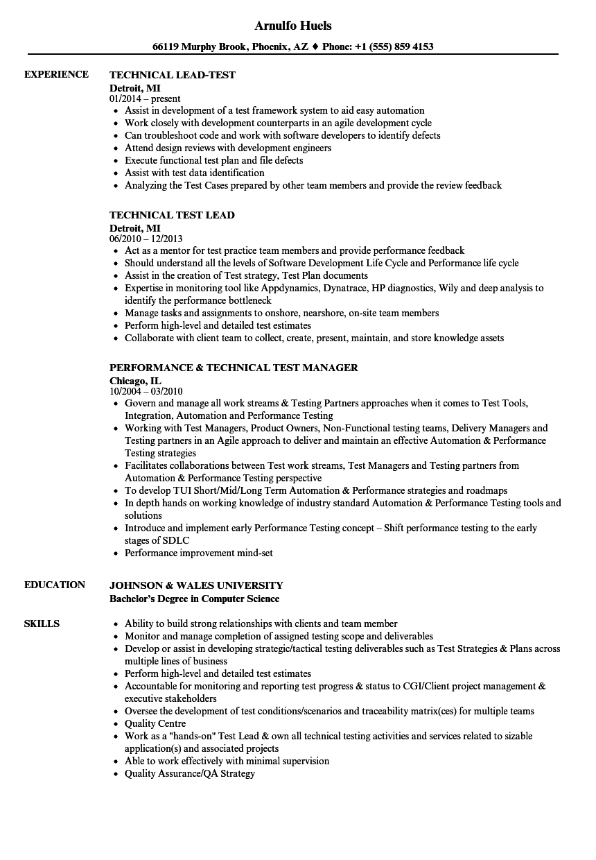 technical test resume samples