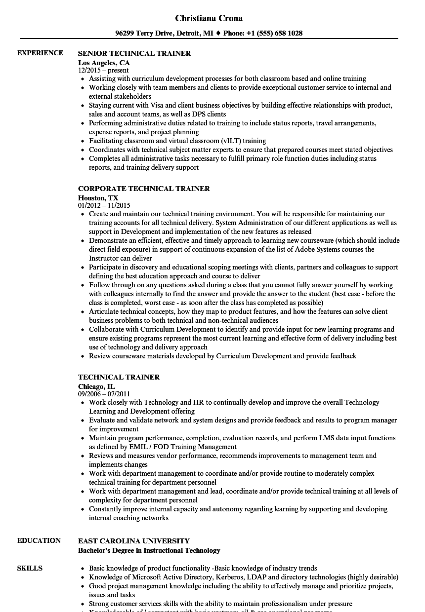 Technical Trainer Resume Samples | Velvet Jobs