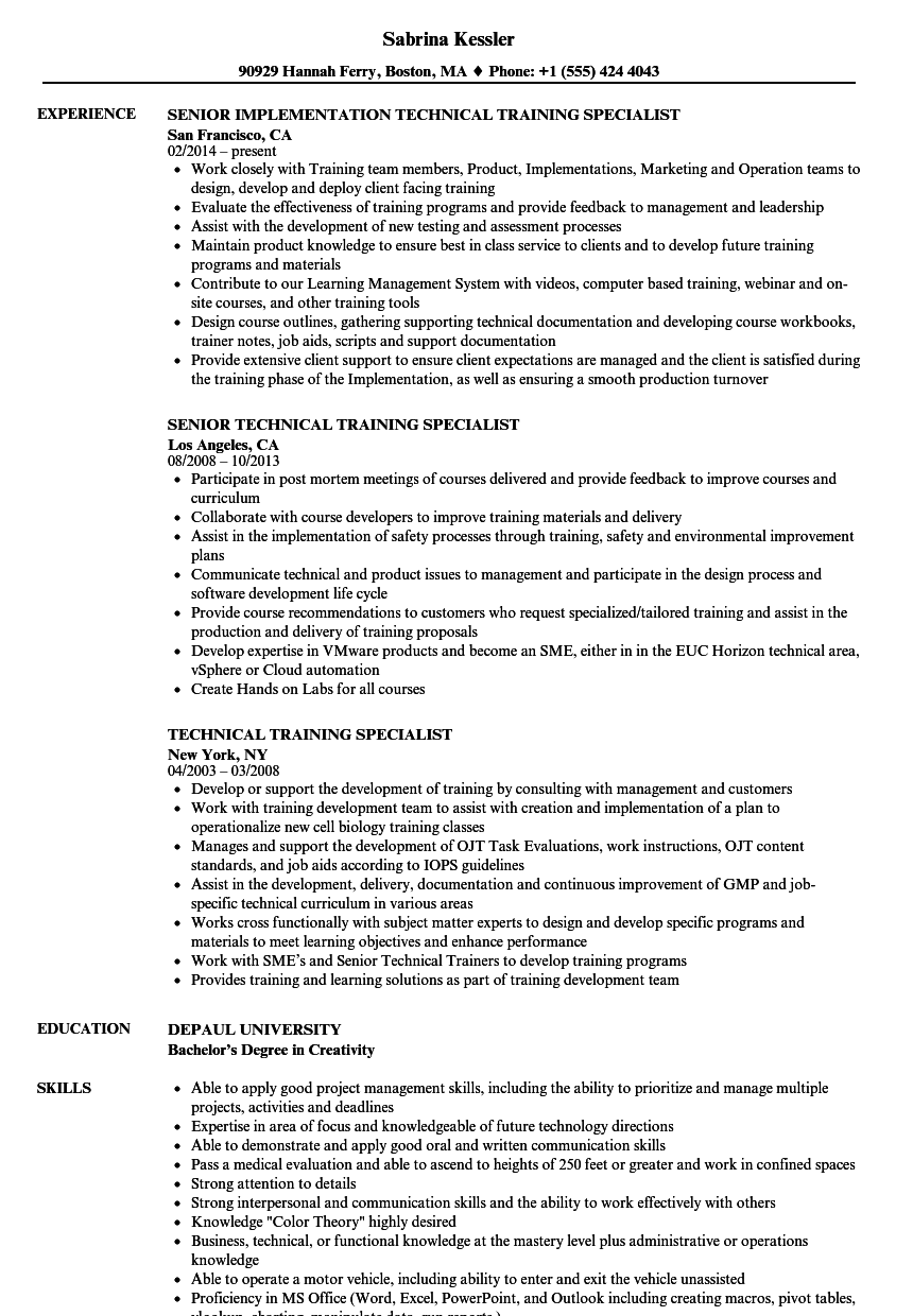 technical training specialist resume samples