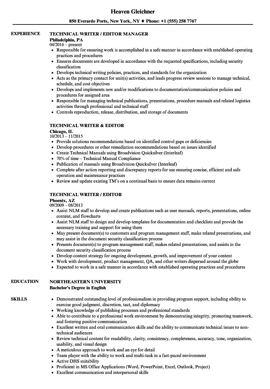 Technical Writer / Editor Resume Samples | Velvet Jobs