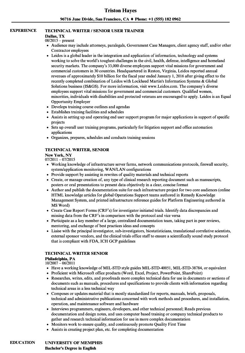 technical writer  senior resume samples