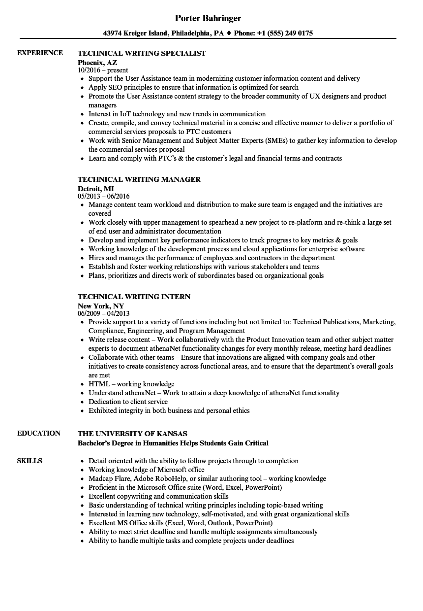 Technical Writing Resume Samples | Velvet Jobs