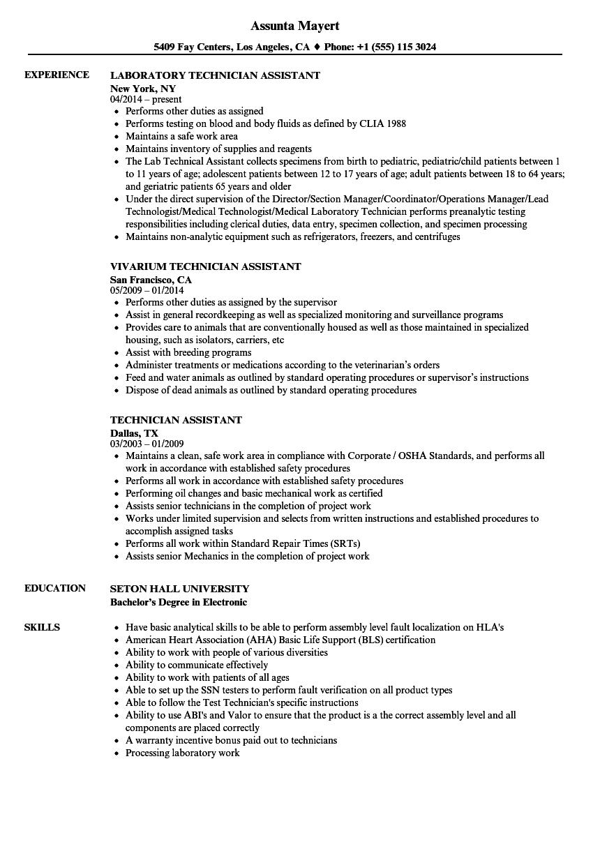 Technician Assistant Resume Samples Velvet Jobs