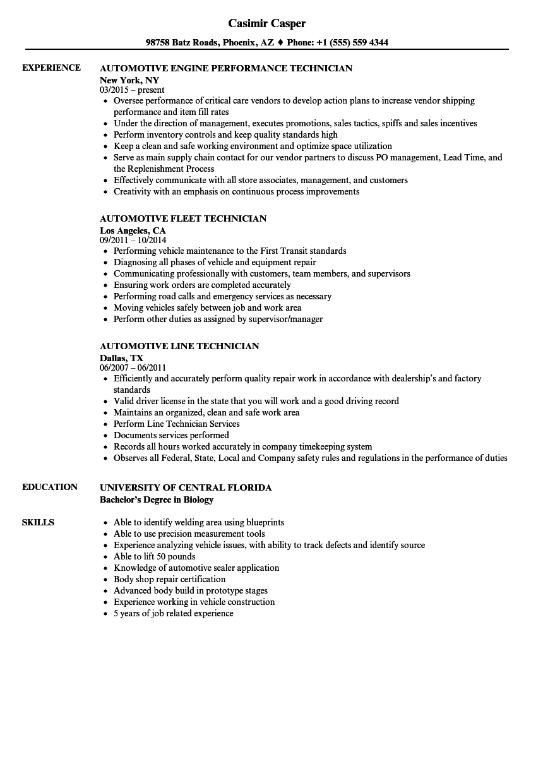 technician automotive resume samples