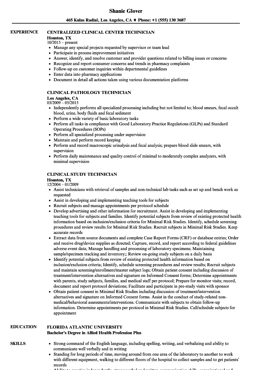 technician clinical resume samples velvet jobs