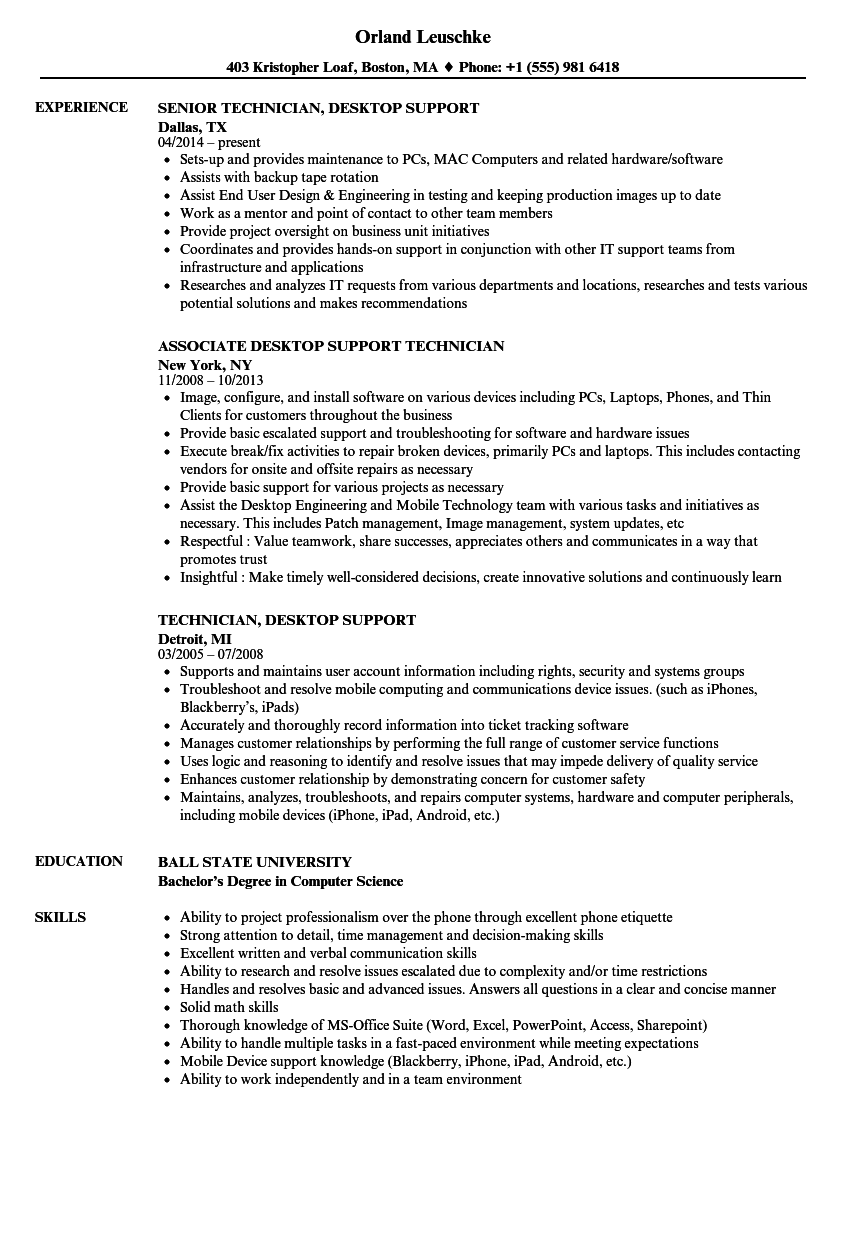 technician  desktop support resume samples