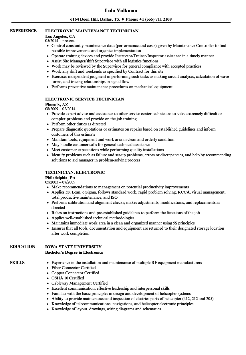 technician  electronic resume samples