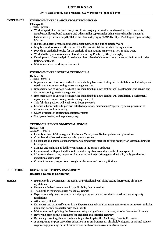 technician environmental resume samples