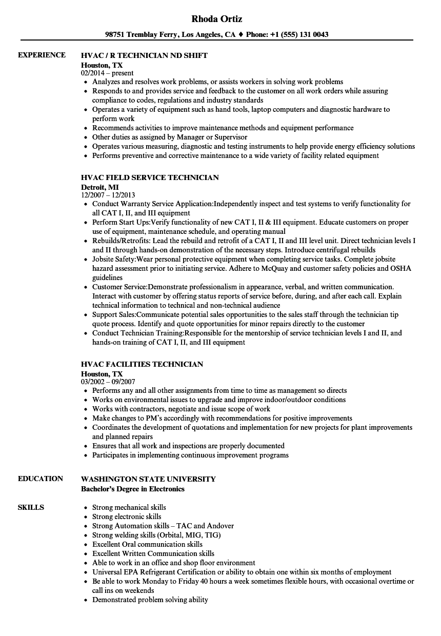 technician  hvac resume samples