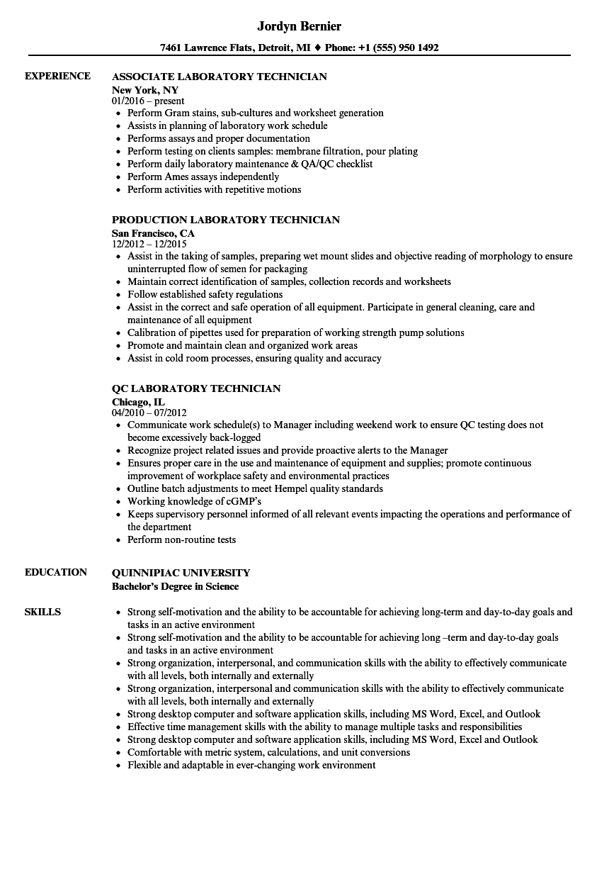Technician, Laboratory Resume Samples | Velvet Jobs
