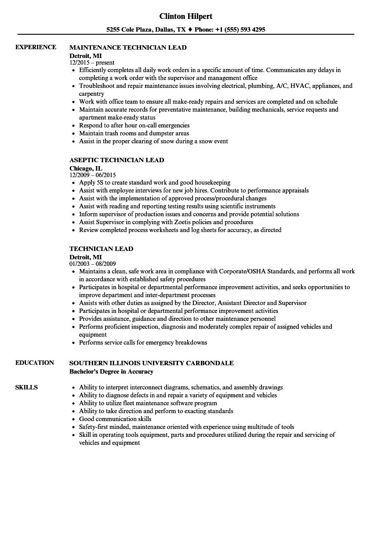 Technician Lead Resume Samples | Velvet Jobs