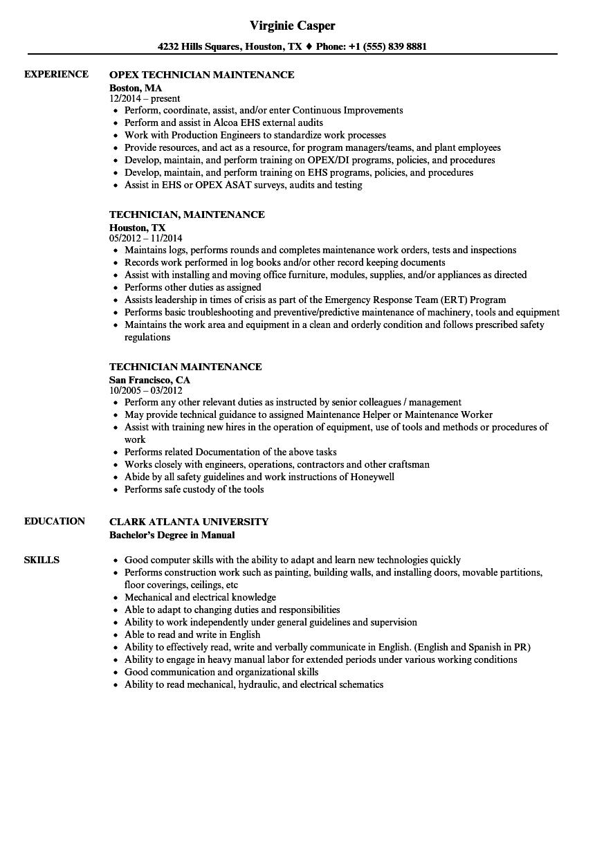 technician maintenance resume samples  velvet jobs