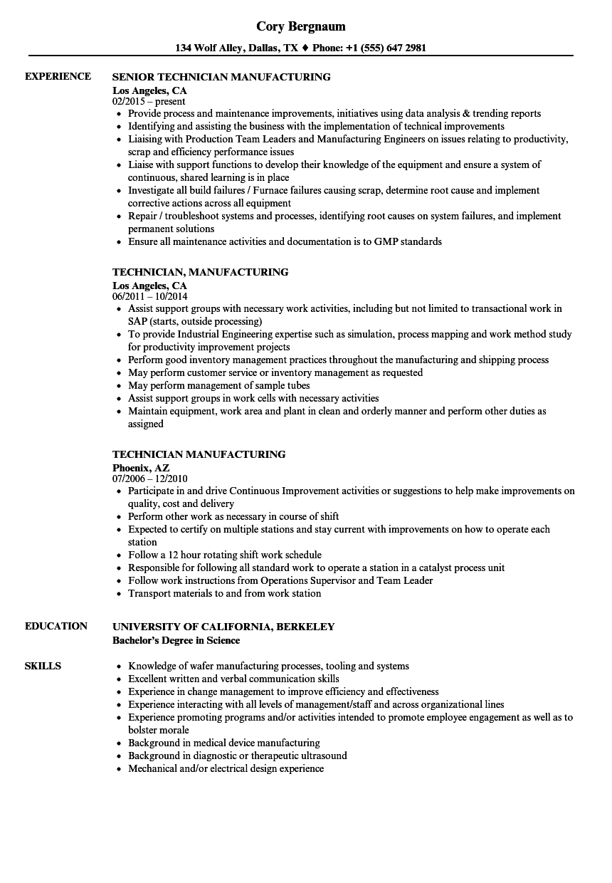 technician  manufacturing resume samples