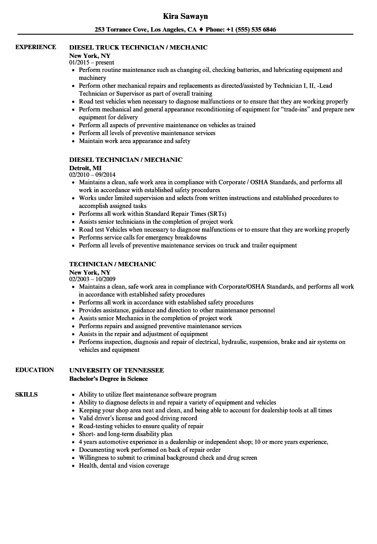 technician    mechanic resume samples