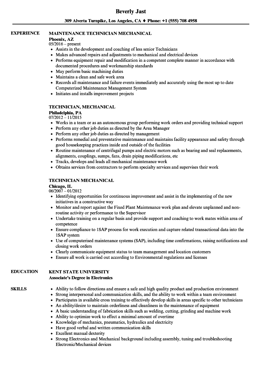 technician  mechanical resume samples