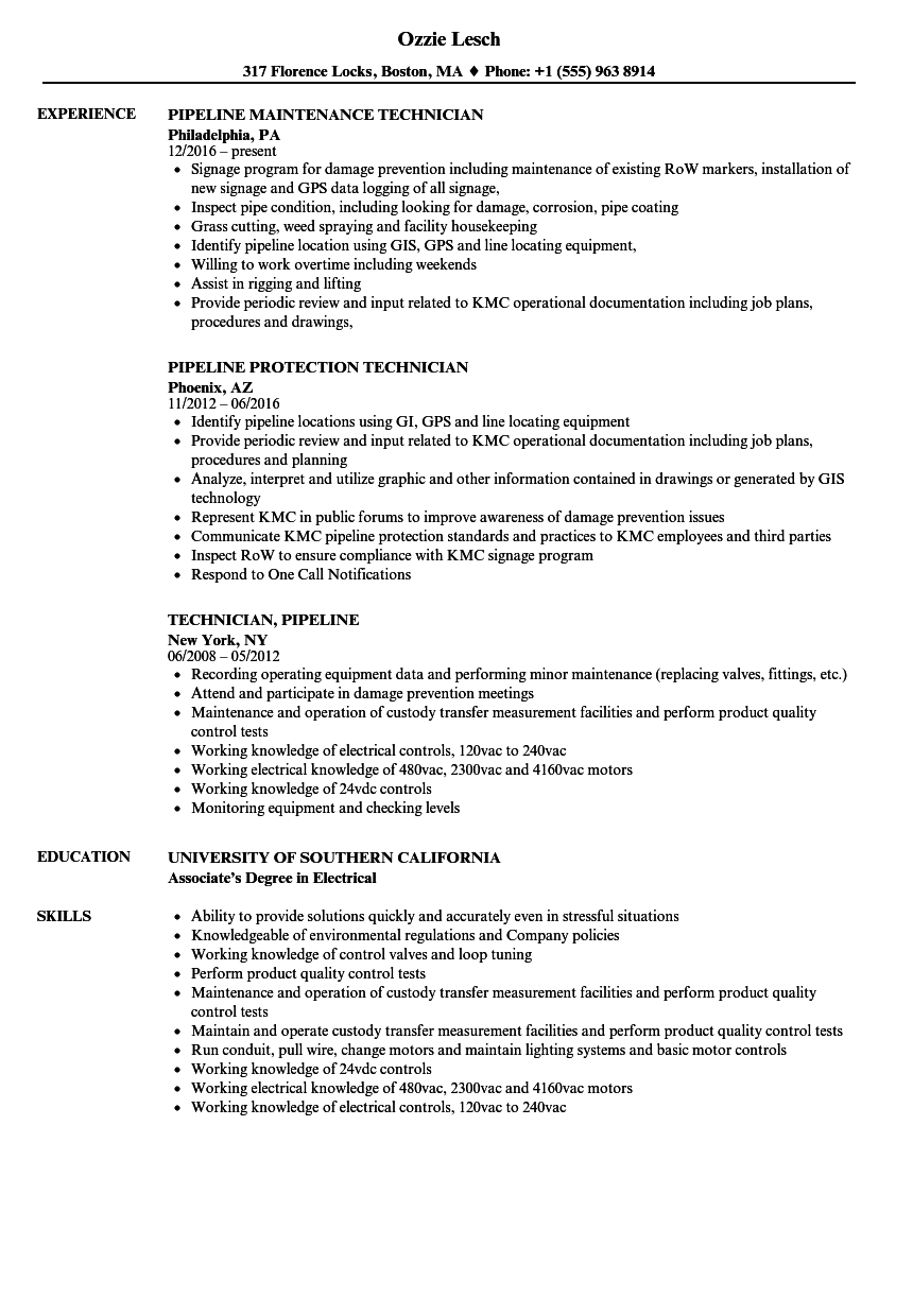 Download Technician, Pipeline Resume Sample As Image File