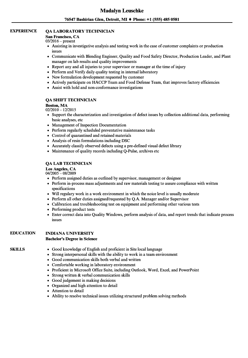 download technician qa resume sample as image file - Sample Qa Resume