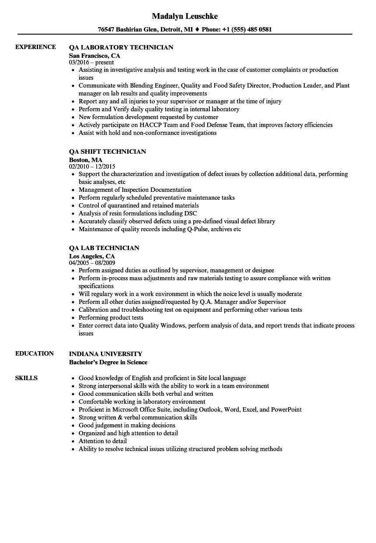 Technician QA Resume Samples | Velvet Jobs