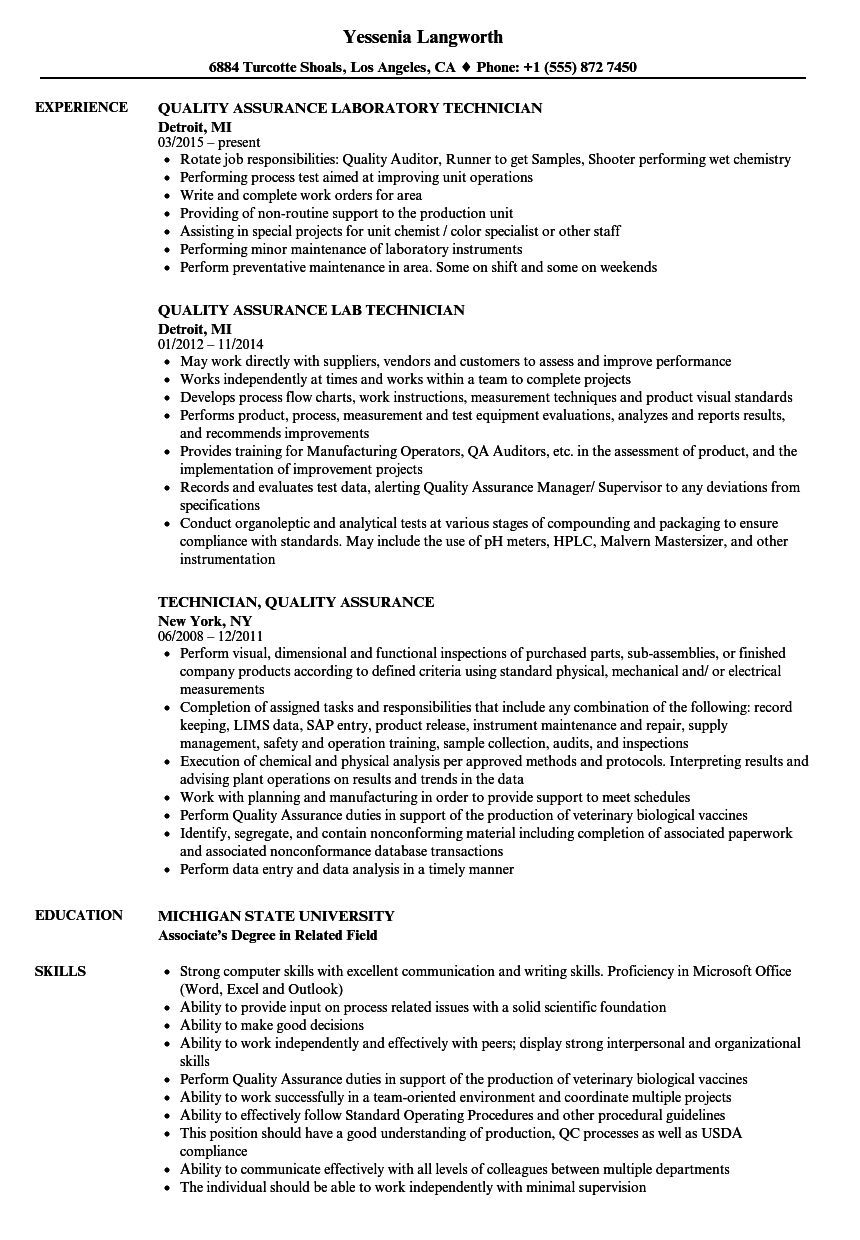 Technician, Quality Assurance Resume Samples | Velvet Jobs