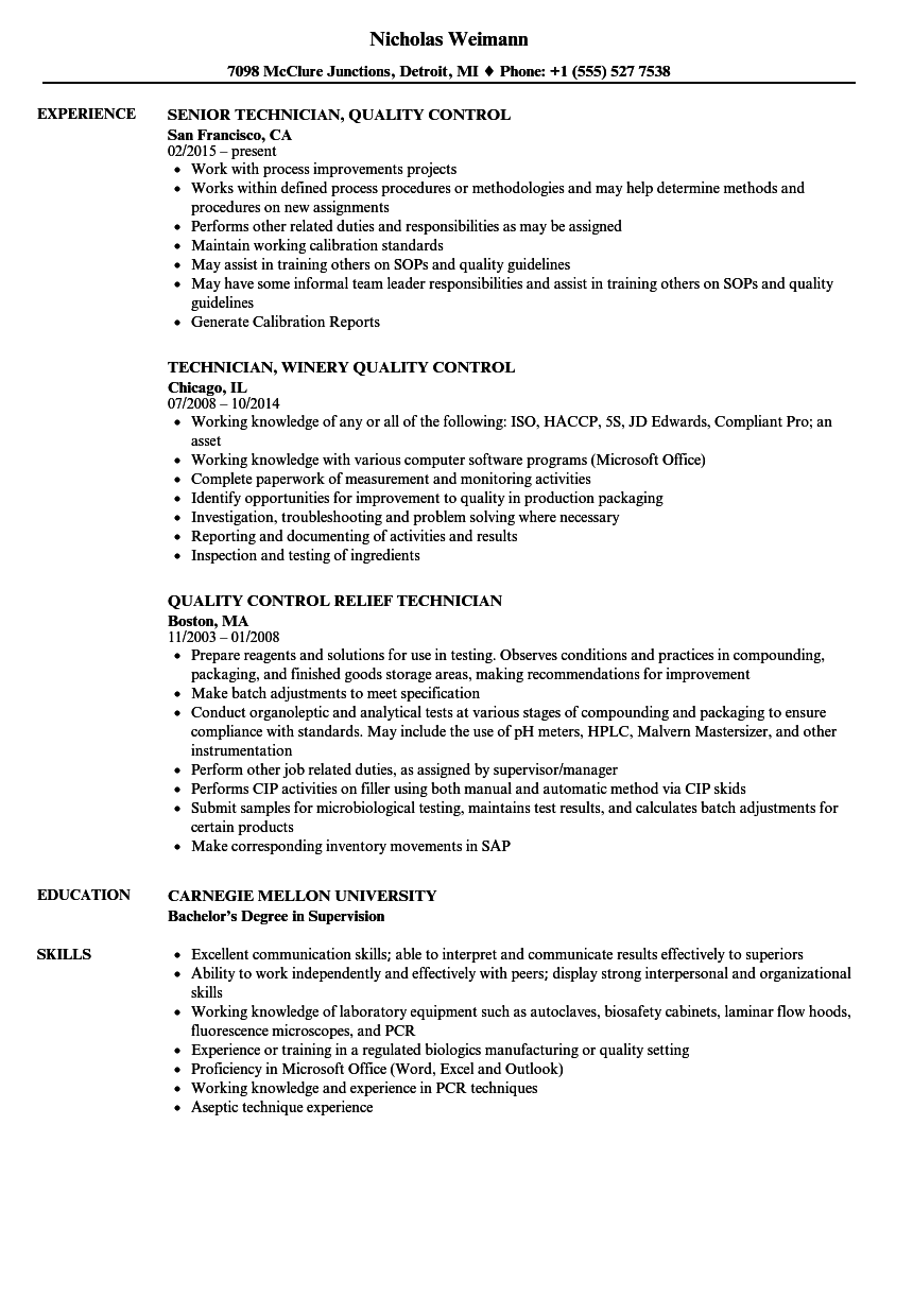 Technician Quality Control Resume Samples | Velvet Jobs