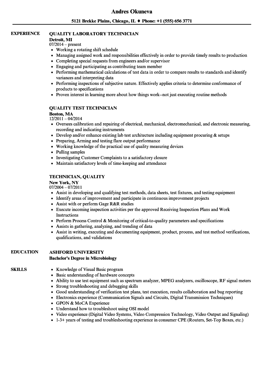 Technician, Quality Resume Samples | Velvet Jobs