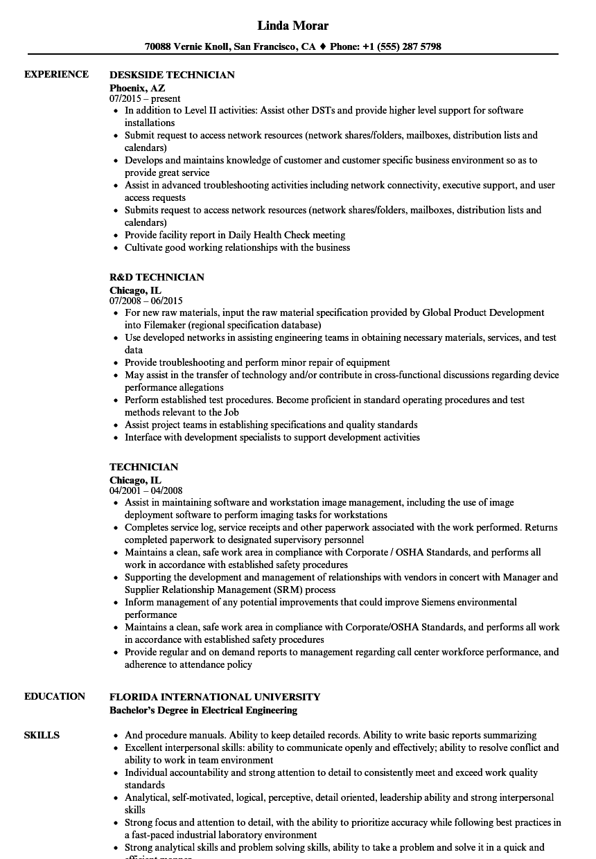 technician resume samples