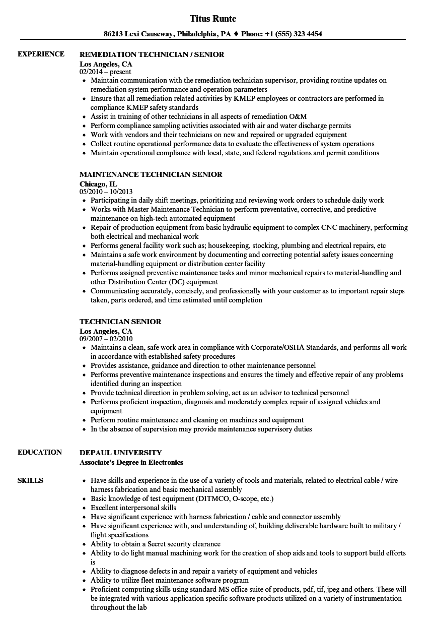 technician senior resume samples