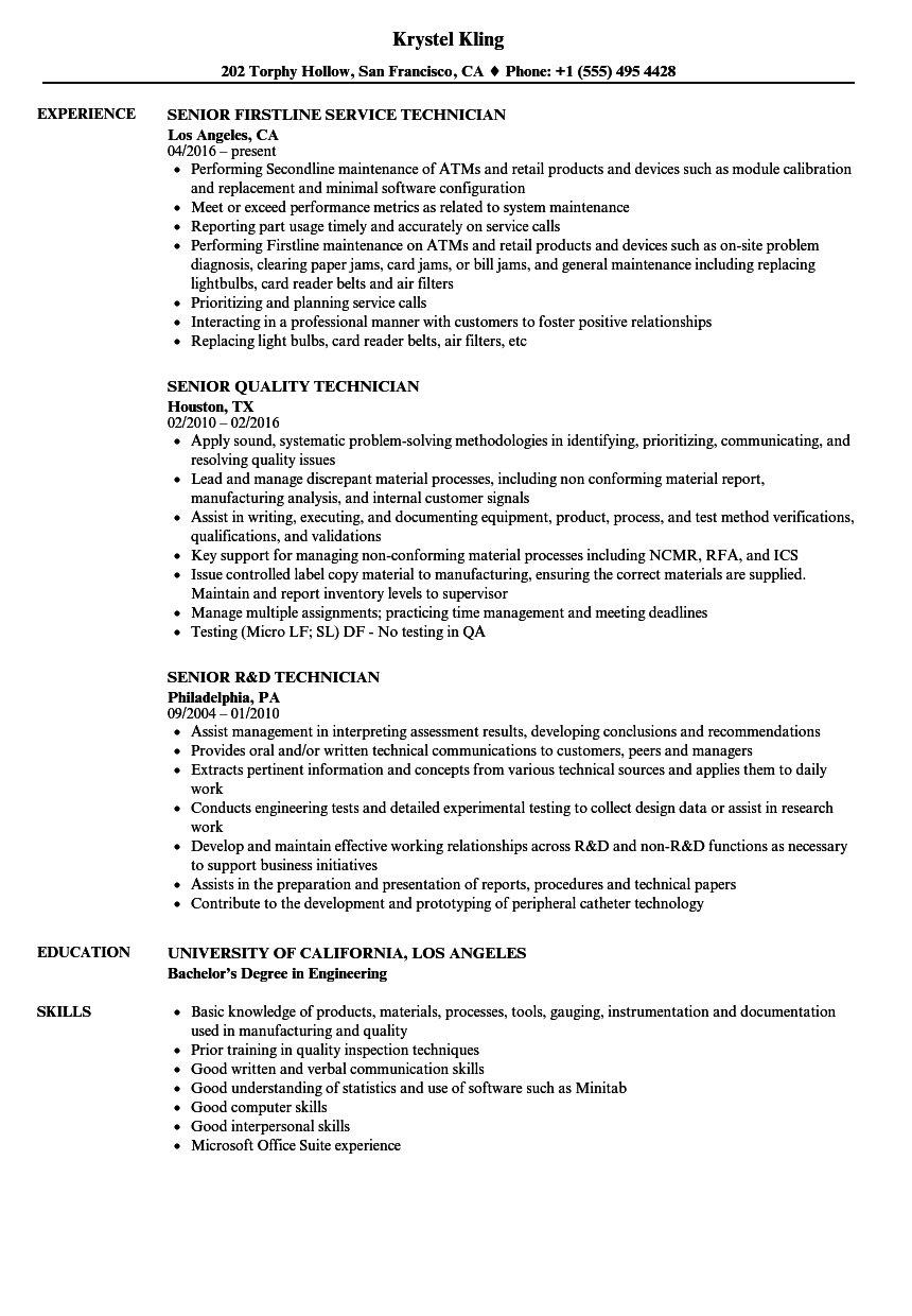 Technician, / Senior Technician Resume Samples | Velvet Jobs