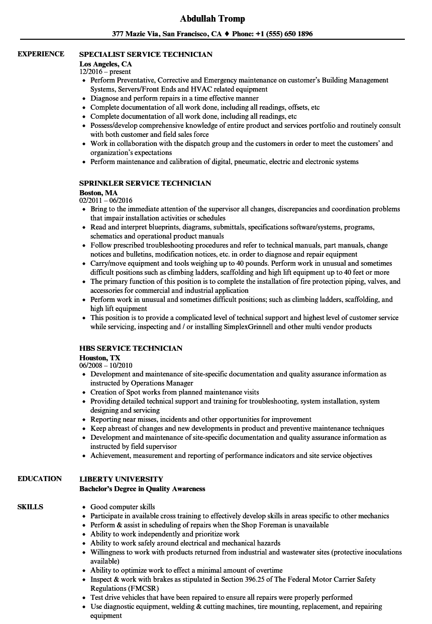 Technician, Service Resume Samples | Velvet Jobs