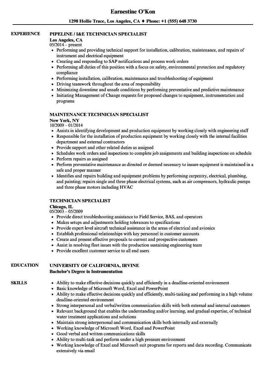 Download Technician Specialist Resume Sample As Image File