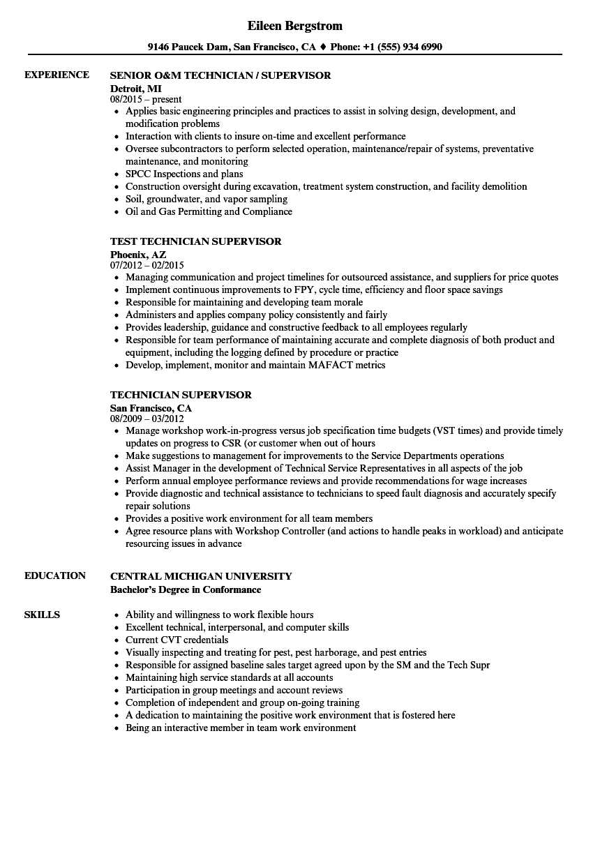Technician Supervisor Resume Samples Velvet Jobs