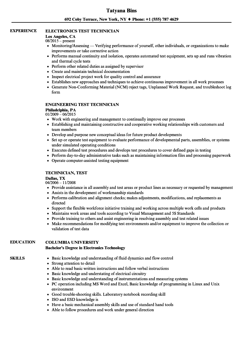 technician  test resume samples