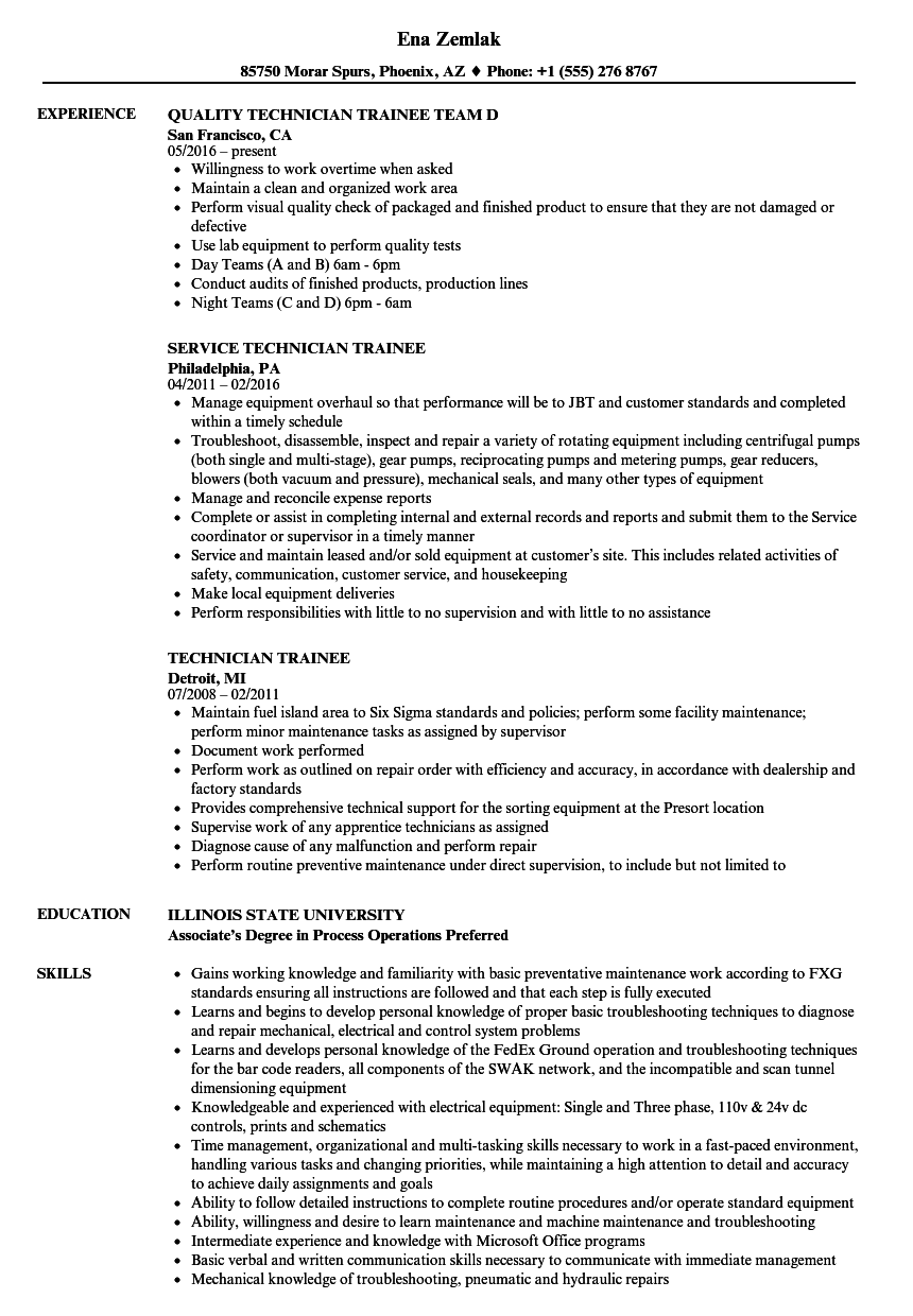 Technician Trainee Resume Samples | Velvet Jobs