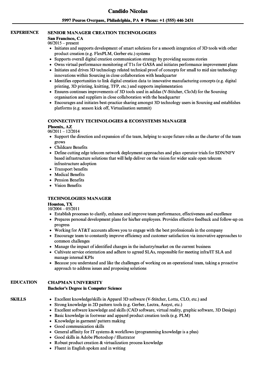 Technologies Manager Resume Samples | Velvet Jobs