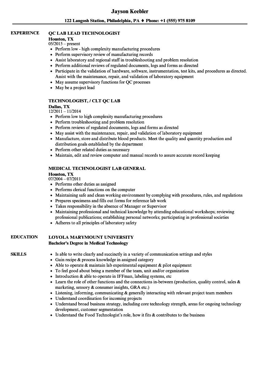 Technologist, Lab Resume Samples | Velvet Jobs