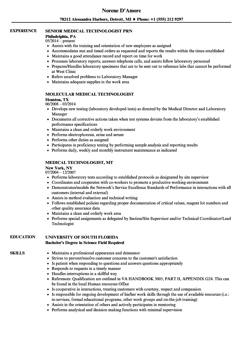 download technologist medical resume sample as image file - Medical Technologist Resume