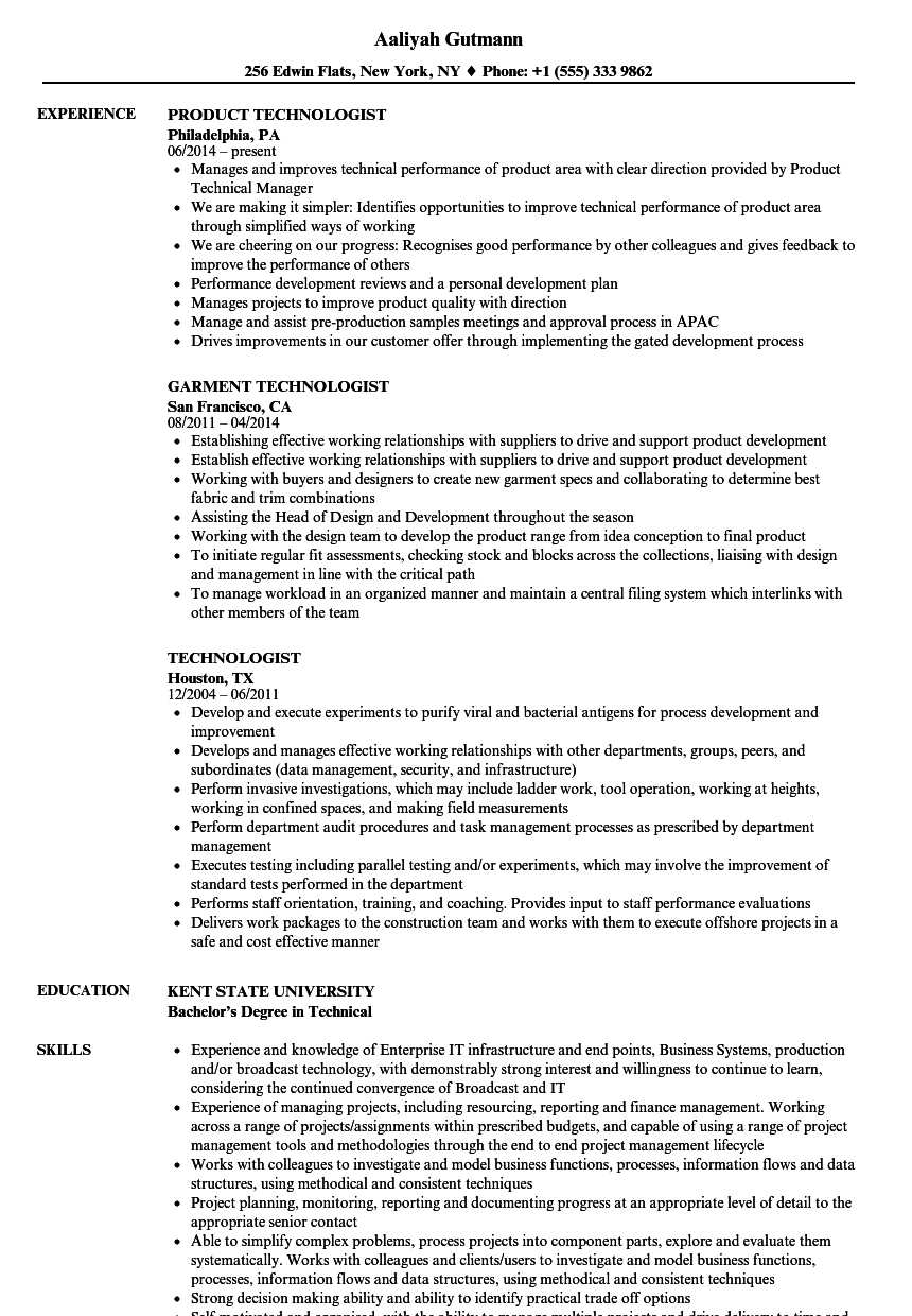 technologist resume samples