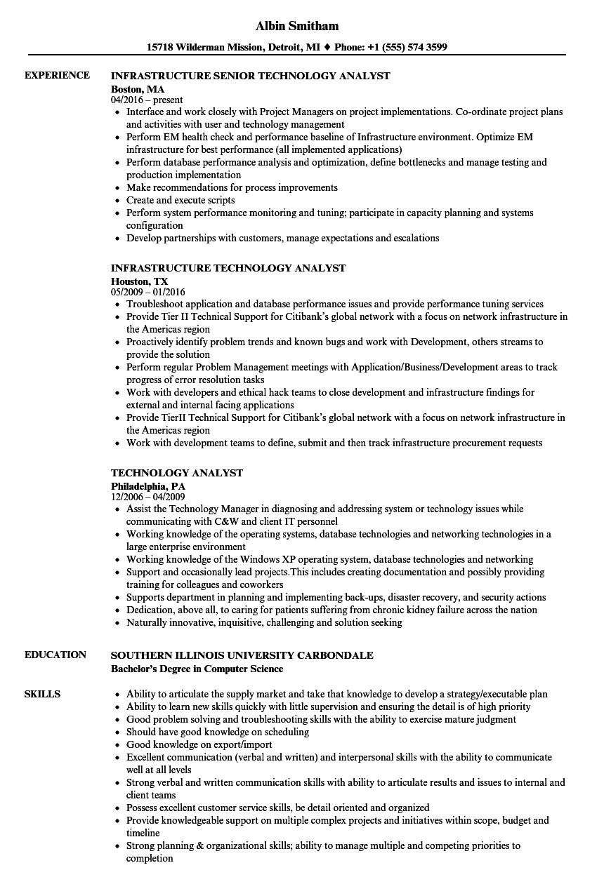 Technology Analyst Resume Samples | Velvet Jobs