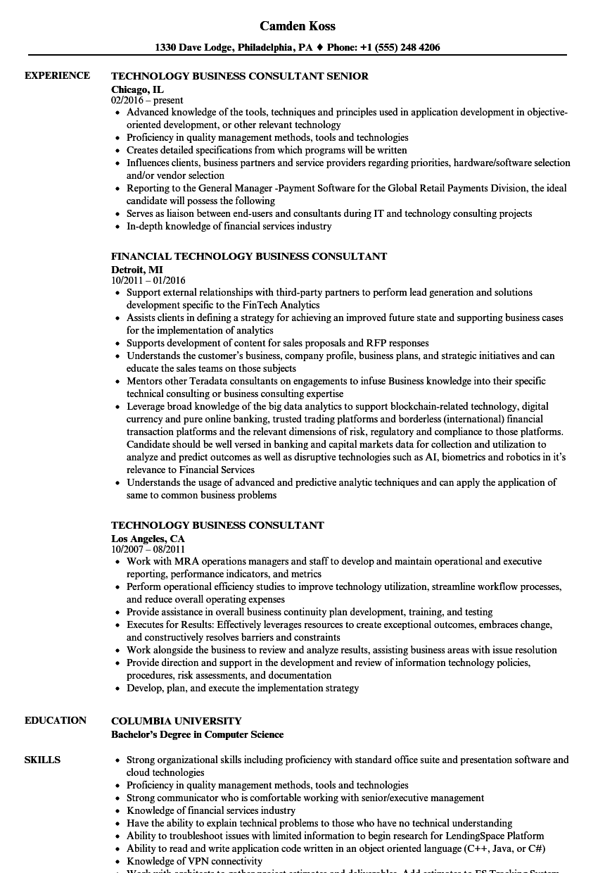 technology-business-consultant-resume-sample Technology Transformation Resume on vp business, samples for digital, devops it,