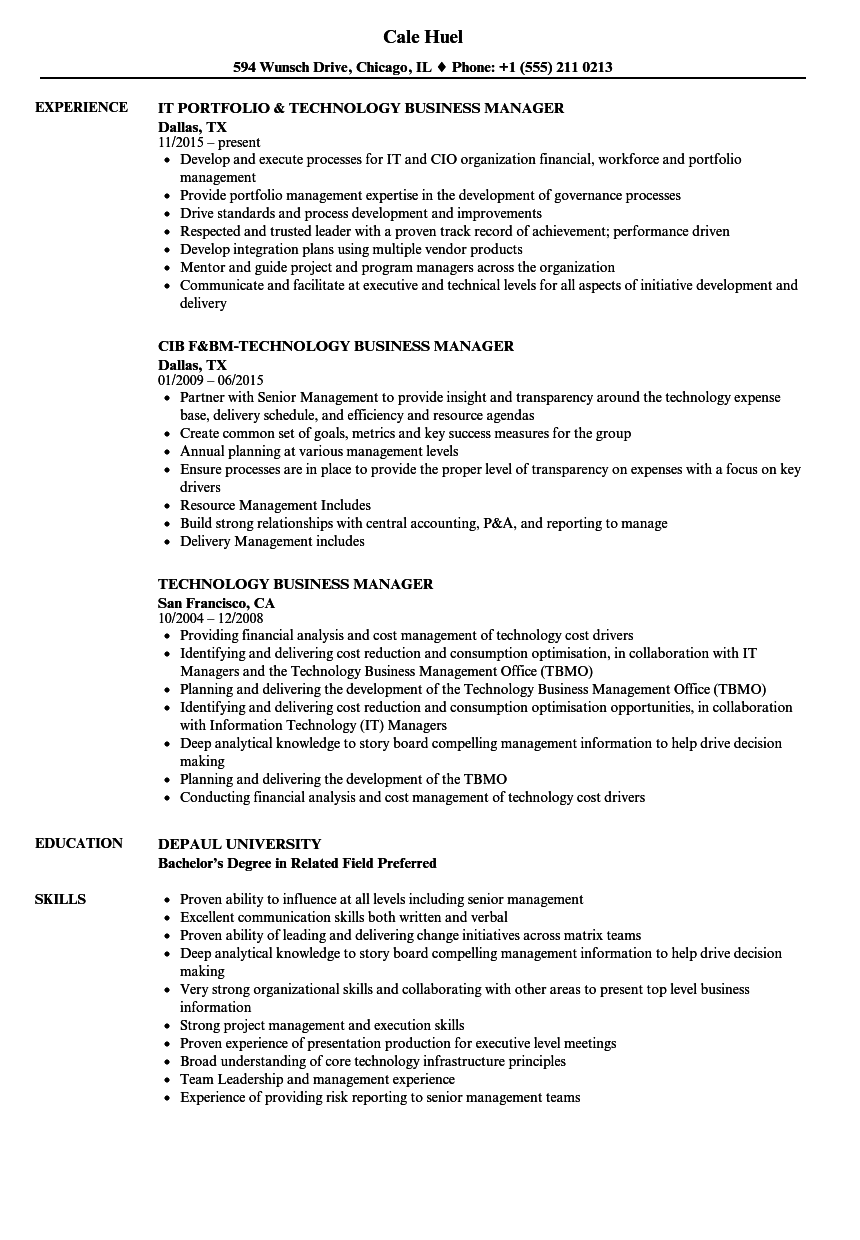 Technology Business Manager Resume Samples | Velvet Jobs