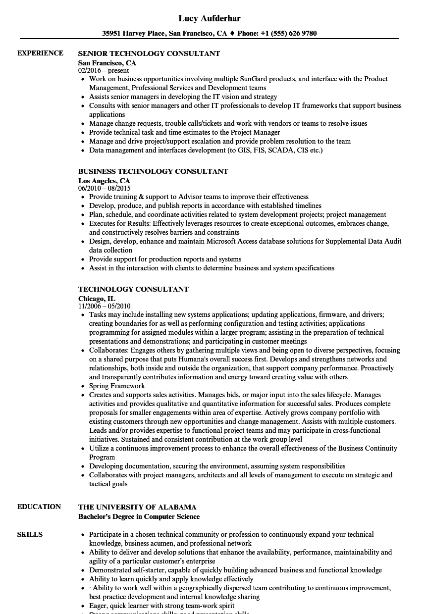 High Quality Download Technology Consultant Resume Sample As Image File