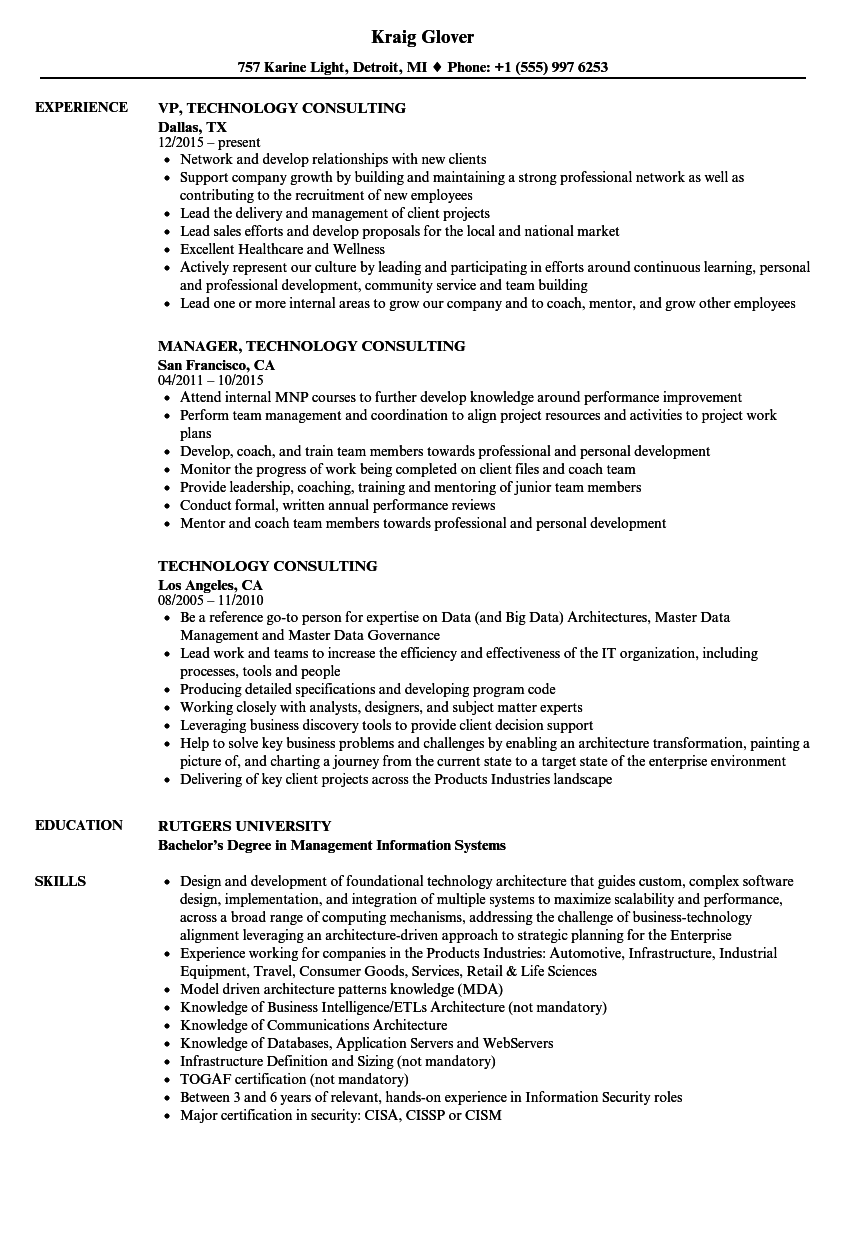 download technology consulting resume sample as image file - Information Technology Consultant Resume