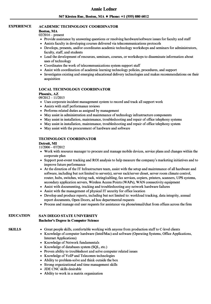 Download Technology Coordinator Resume Sample As Image File