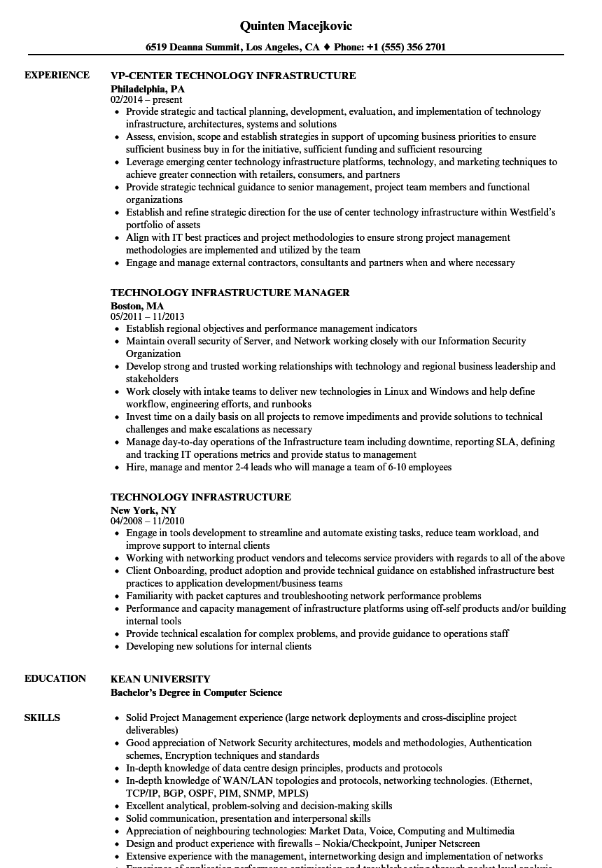 technology infrastructure resume samples