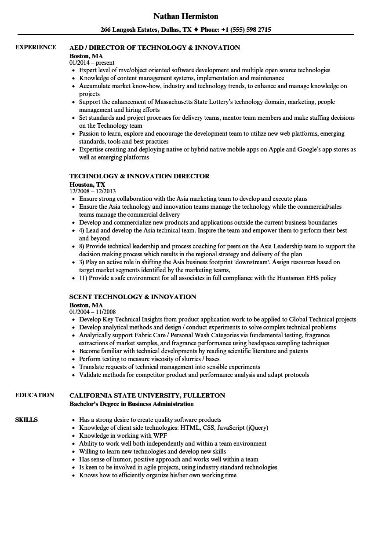 technology innovation resume samples velvet jobs