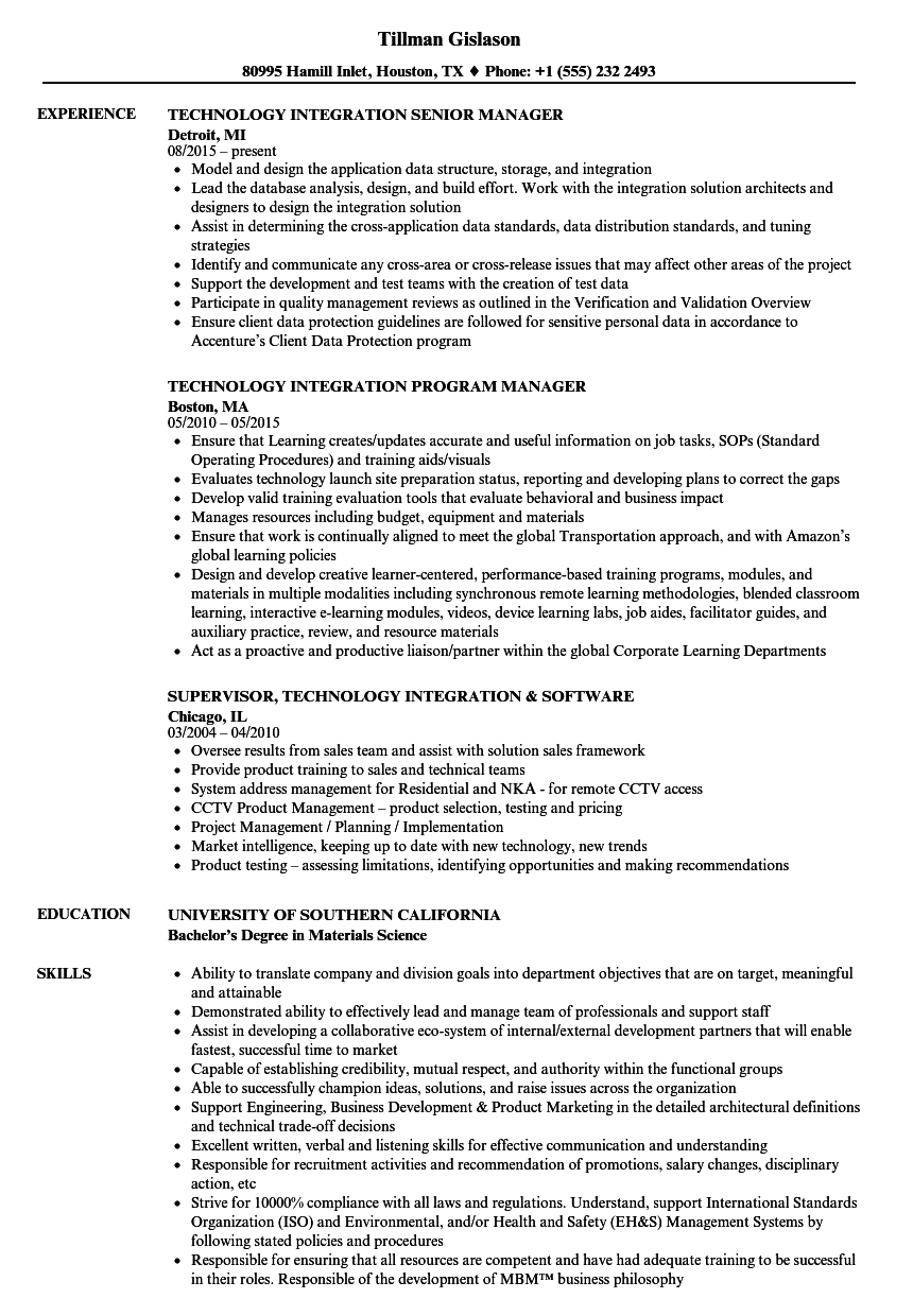 technology integration resume samples
