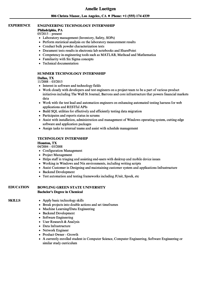 Technology Internship Resume Samples | Velvet Jobs