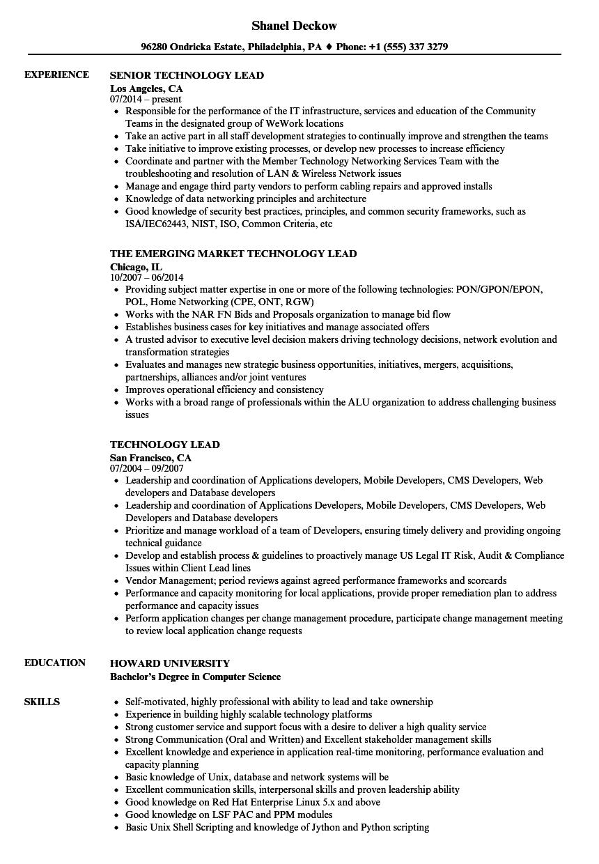 Technology Lead Resume Samples | Velvet Jobs