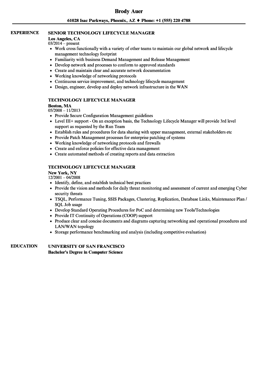 Technology Lifecycle Manager Resume Samples | Velvet Jobs